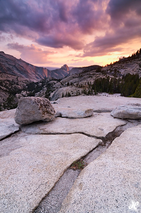 Thunderstorm at sunset at Olmsted Point, Yosemite National Park