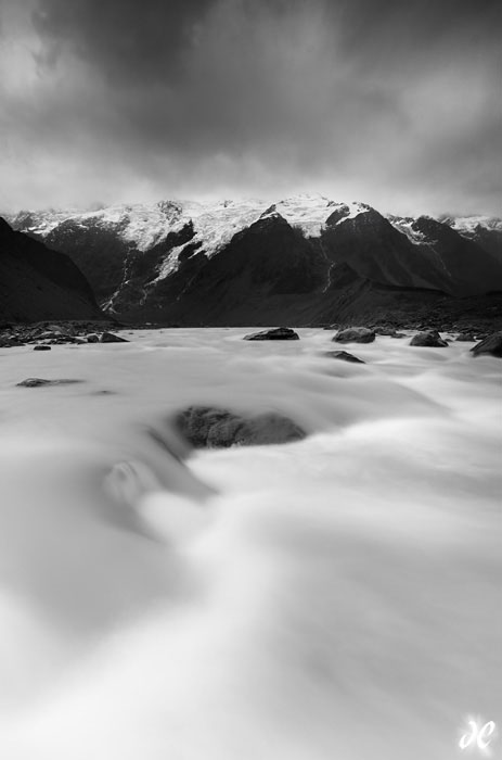 Hooker River, Mt. Cook National Park, South Island, New Zealand (black and white)