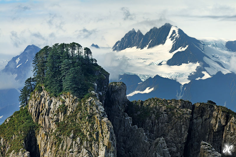 Chiswell Islands and jagged mountains in Resurrection Bay, Seward, Alaska