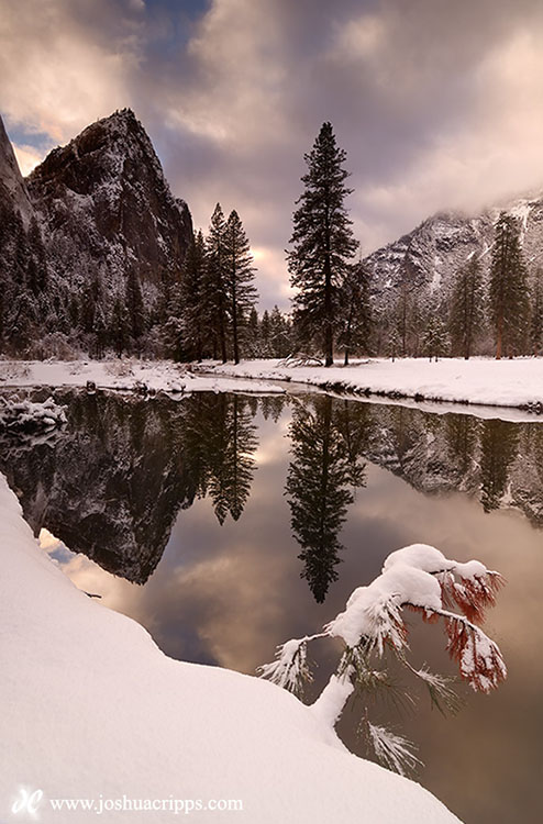 Cathedral Rocks and Merced River in Winter, Yosemite National Park