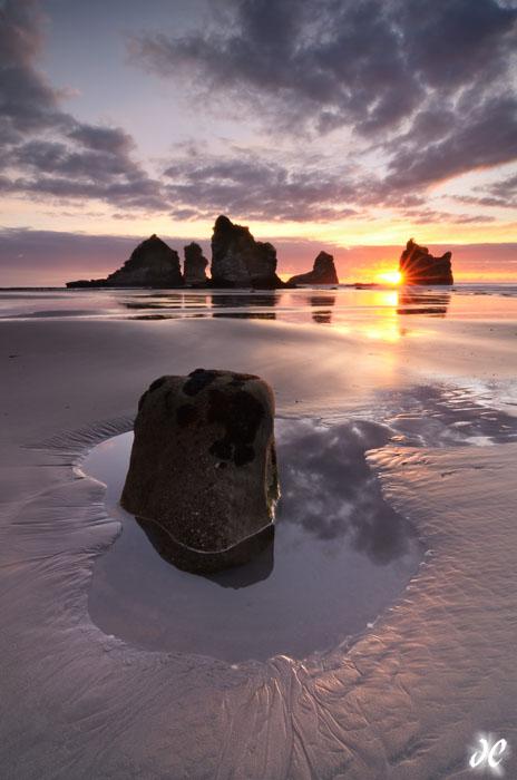 Motukiekie Beach sunset, South Island, New Zealand