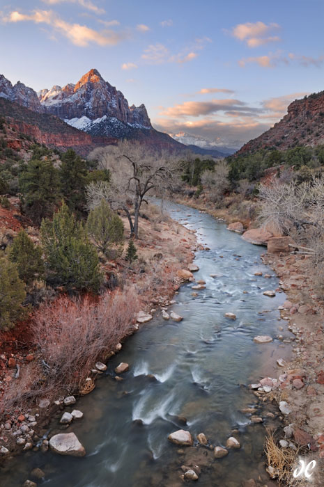 The Watchman, Virgin River, Zion National Park, Utah