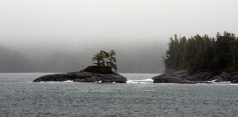 Gray islands in the Alaskan Panhandle