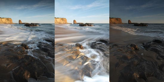 Aperture priority produces inconsistent exposures. 3 shots, back to back at f/22, from L to R: 1/6 s, 1/1.3 s, 1/10 s